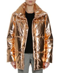 MSGM - Metallic Quilted Puffer Coat - Lyst