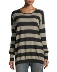 Vince - Black Wide-striped Long-sleeve Oversized Tee - Lyst