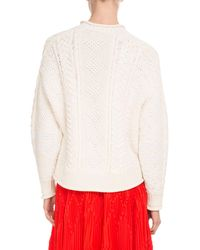 Givenchy - White Crewneck Long-sleeve Logo Fisherman Knit Wool Sweater - Lyst
