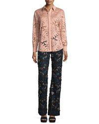 Self-Portrait - Pink Palm Guipure Lace Long-sleeve Shirt - Lyst