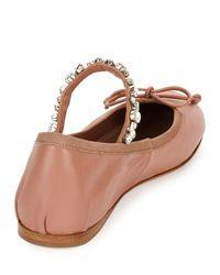 Miu Miu | Brown Jeweled-strap Leather Ballerina Flat | Lyst
