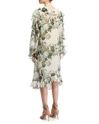 Robert Rodriguez - Green Ruffled Low-high Hem Midi Dress - Lyst