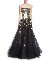 Oscar de la Renta - Black Strapless Sequined Tulle Ball Gown - Lyst