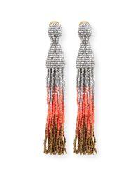 Oscar de la Renta - Red Ombre Crystal Tassel Earrings - Lyst