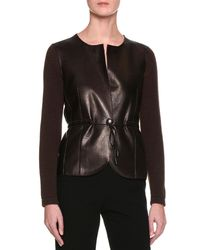 Giorgio Armani - Brown Cashmere Sweater W/leather Front - Lyst