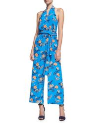 Diane von Furstenberg - Blue Halter-neck Wrap-front Jumpsuit - Lyst