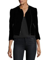 Rebecca Taylor - Black Velvet Zip-front Motorcycle Jacket - Lyst