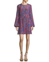 Diane von Furstenberg Blue Jewel-neck Long-sleeve Tie-waist Mini Dress