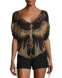 Haute Hippie - Brown Earth Angel Deep-v Embellished Silk Blouse - Lyst