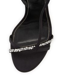 Sergio Rossi - Black Lexington 105mm Strappy Crystal-embellished Satin Sandal - Lyst