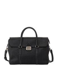 Ermenegildo Zegna - Black Pelle Tessuta Woven Leather Briefcase for Men - Lyst