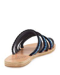 Ancient Greek Sandals - Blue Niki Braided Toe-ring Slide Sandal - Lyst