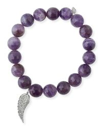 Sydney Evan - Purple 10mm Amethyst Beaded Bracelet With Diamond Wing Charm - Lyst