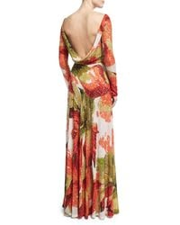 Naeem Khan - Orange Beaded Floral Long-sleeve Gown With Cowl Back - Lyst