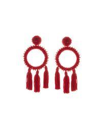 Oscar de la Renta - Red Large Beaded Circle Tassel Clip On Earrings - Lyst