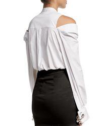 Monse White Slit-shoulder Cotton Blouse
