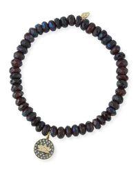 Sydney Evan | Red Faceted Garnet Beaded Bracelet With Diamond Lotus Charm | Lyst