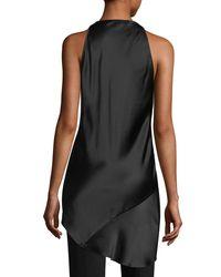 939d9120f24fe Lyst - Urban Zen Draped Silk Halter Top in Black