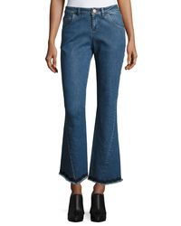 See By Chloé - Blue Mid-rise Flared Raw-hem Jeans - Lyst
