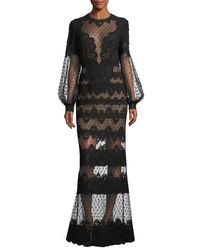 Elie Saab   Black Lace-embroidered Swiss Dot Gown   Lyst