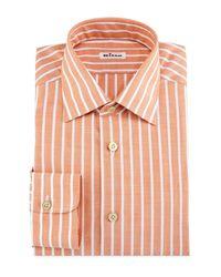 Kiton - Orange Bold-stripe Dress Shirt for Men - Lyst