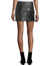 Helmut Lang - Black Houndstooth Leather Mini Skirt - Lyst