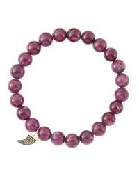 Sydney Evan   Red 8mm Natural Ruby Beaded Bracelet With 14k Yellow Gold/diamond Small Disc Charm (made To Order)   Lyst