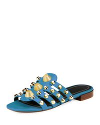 Balenciaga - Blue Studded Caged Flat Slide Sandal - Lyst
