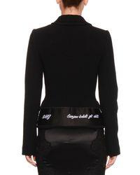 Dolce & Gabbana - Black Button-front Stretch-wool Jacket W/ Ribbon Trim - Lyst