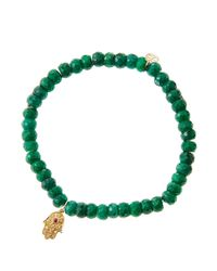 Sydney Evan - Green Emerald Rondelle Beaded Bracelet With 14K Gold Hamsa Charm (Made To Order) - Lyst