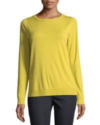 Lafayette 148 New York - Yellow Matte Crepe Crewneck Sweater - Lyst