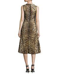 RED Valentino - Black Sleeveless Leopard-print Pleated Dress - Lyst
