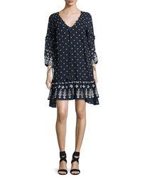 10 Crosby Derek Lam - Blue Bell-sleeve Embroidered Ruffle Dress - Lyst