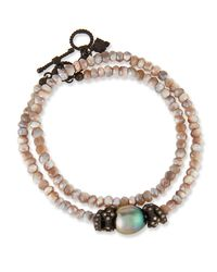 Armenta - Metallic Old World Mystic Moonstone & Pearl Bracelet With Champagne Diamonds - Lyst