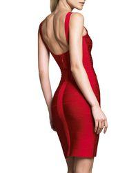 Hervé Léger - Red Scoop-neck Bandage Dress - Lyst