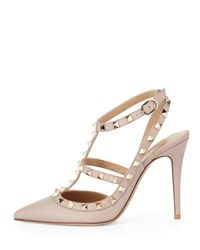 Valentino - Natural Rockstud Leather Pumps - Lyst