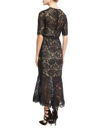 Lela Rose - Black Floral-embroidered Lace Flounce Midi Dress - Lyst