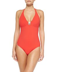 Tory Burch - Logo Onepiece Swimsuit Poppy Red Medium - Lyst