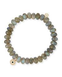 Sydney Evan | Gray 8mm Labradorite Bead Bracelet W/14k Gold Diamond Disc Charm | Lyst