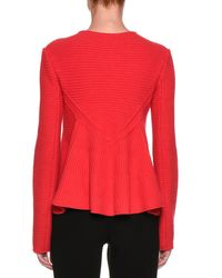 Giorgio Armani - Red Flounce-back Knit Zip-front Jacket - Lyst