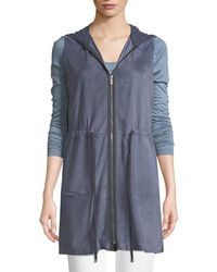 Lafayette 148 New York - Blue Salma Lush Suede Vest With Knit Back - Lyst
