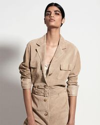 The Row - Natural Zoe Perforated Suede Trenchcoat - Lyst