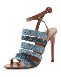 Aquazzura - Blue Tyra Strappy Woven Denim Sandal - Lyst