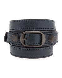 Balenciaga - Black Classic Leather Wrap Bracelet for Men - Lyst