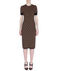 Fendi - Brown Knit Dress - Lyst
