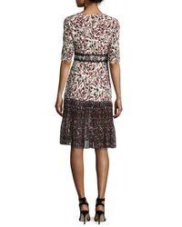 Saloni - Multicolor Vera-c Round-neck Half-sleeve Midi Dress - Lyst