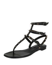 Valentino - Black Rockstud Leather Gladiator Sandals - Lyst