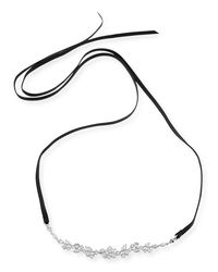 Fallon - White Monarch Florette Leather Choker Necklace With Crystals - Lyst