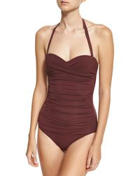 Heidi Klein - Purple Body Ruched Control Bandeau One-piece Swimsuit - Lyst