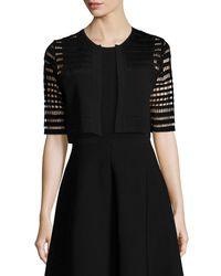 Lela Rose - Black Half-sleeve Windowpane Lace Bolero - Lyst